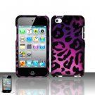 Hard Rubber Feel Design Case for Apple iPod Touch 4 - Purple Cheetah