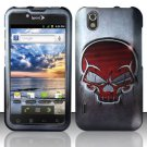 Hard Rubber Feel Design Case for LG Marquee LS855/Optimus Black (Sprint/Boost) - Red Skulls