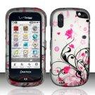 Hard Rubber Feel Design Case for Pantech Hotshot 8992 - Pink Garden
