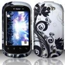 Hard Rubber Feel Design Case for LG Doubleplay C729 (T-Mobile) - Black Vines
