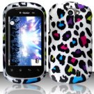 Hard Rubber Feel Design Case for LG Doubleplay C729 (T-Mobile) - Colorful Leopard