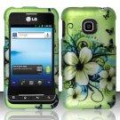Hard Rubber Feel Design Case for LG Optimus 2 AS680 (Alltel) - Hawaiian Flowers