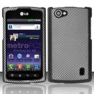 Hard Rubber Feel Design Case for LG Optimus M+ MS695 (MetroPCS) - Carbon Fiber