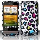 Hard Rubber Feel Design Case for HTC One V (Virgin Mobile) - Colorful Leopard