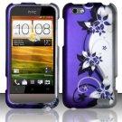 Hard Rubber Feel Design Case for HTC One V (Virgin Mobile) - Purple Vines