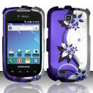 Hard Rubber Feel Design Case for Samsung Dart T499 - Purple Vines