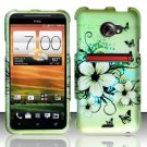 Hard Rubber Feel Design Case for HTC EVO 4G LTE (Sprint) - Hawaiian Flowers