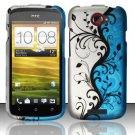 Hard Rubber Feel Design Case for HTC One S (T-Mobile) - Blue Vines
