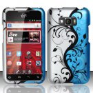 Hard Rubber Feel Design Case for LG Optimus Elite LS696 (Sprint) - Blue Vines