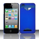 Hard Rubber Feel ID-holder Case for Apple iPhone 4/4S - Blue