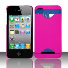 Hard Rubber Feel ID-holder Case for Apple iPhone 4/4S - Pink