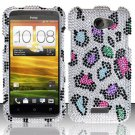 Hard Rhinestone Design Case for HTC One X (AT&T) - Colorful Leopard