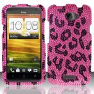 Hard Rhinestone Design Case for HTC One X (AT&T) - Pink Leopard