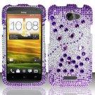 Hard Rhinestone Design Case for HTC One X (AT&T) - Purple Gems