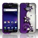 Hard Rubber Feel Design Case for Samsung Galaxy S II Skyrocket i727 (AT&T) - Purple Vines