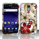 Hard Rubber Feel Design Case for Samsung Galaxy S II Skyrocket i727 (AT&T) - Red Flowers
