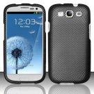 Hard Rubber Feel Design Case for Samsung Galaxy S3 III i9300 - Carbon Fiber