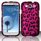 Hard Rubber Feel Design Case for Samsung Galaxy S3 III i9300 - Pink Leopard
