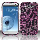 Hard Rhinestone Design Case for Samsung Galaxy S3 III i9300 - Pink Cheetah