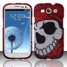 Hard Rhinestone Design Case for Samsung Galaxy S3 III i9300 - Pirate Skull