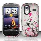 Hard Rubber Feel Design Case for HTC Amaze 4G (T-Mobile) - Pink Garden