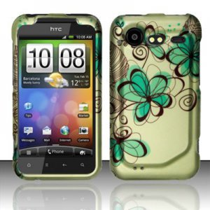 Hard Rubber Feel Design Case for HTC DROID Incredible 2 6350 (Verizon) - Azure Flowers