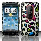 Hard Rubber Feel Design Case for HTC EVO 3D (Sprint) - Colorful Leopard