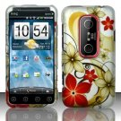 Hard Rubber Feel Design Case for HTC EVO 3D (Sprint) - Red Flowers