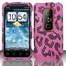 Hard Rhinestone Design Case for HTC EVO 3D (Sprint) - Pink Leopard