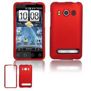 Hard Rubber Feel Plastic Case for HTC EVO 4G (Sprint) - Red