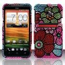 Hard Rhinestone Design Case for HTC EVO 4G LTE (Sprint) - Mosaic Flowers