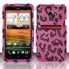 Hard Rhinestone Design Case for HTC EVO 4G LTE (Sprint) - Pink Leopard
