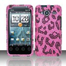 Hard Rhinestone Design Case for HTC EVO Shift 4G - Pink Leopard