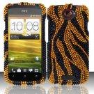 Hard Rhinestone Design Case for HTC One S (T-Mobile) - Golden Zebra