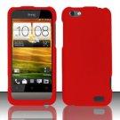 Hard Rubber Feel Plastic Case for HTC One V (Virgin Mobile) - Red