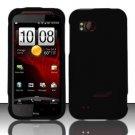 Hard Rubber Feel Plastic Case for HTC Rezound (Verizon) - Black