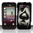 Hard Rubber Feel Design Case for HTC Rhyme (Verizon) - Spade Skull