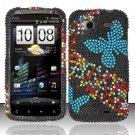 Hard Rhinestone Design Case for HTC Sensation 4G (T-Mobile) - Blue Butterfly