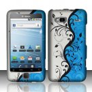 Hard Rubber Feel Design Case for HTC T-Mobile G2 - Blue Vines