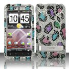 Hard Rhinestone Design Case for HTC ThunderBolt 4G (Verizon) - Colorful Leopard