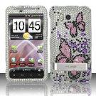 Hard Rhinestone Design Case for HTC ThunderBolt 4G (Verizon) - Pink Butterfly