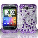 Hard Rhinestone Design Case for HTC Wildfire S - Purple Gems