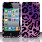 Hard Rubber Feel Design Case for Apple iPhone 4/4S - Purple Cheetah