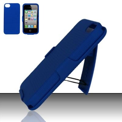 Hard Rubber Feel Holster Combo Case for Apple iPhone 4/4S - Blue
