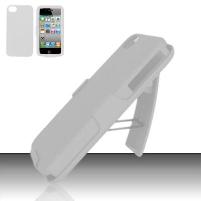 Hard Rubber Feel Holster Combo Case for Apple iPhone 4/4S - White