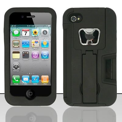 Heavy Duty Armor Case + Bottle Opener/Kickstand/Credit Card Slots for Apple iPhone 4/4S - Black