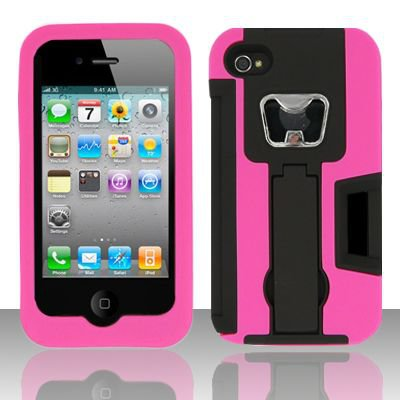 Heavy Duty Armor Case + Bottle Opener/Kickstand/Credit Card Slots for Apple iPhone 4/4S - Pink
