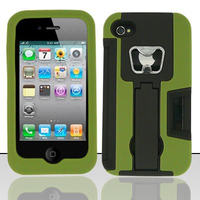 Heavy Duty Armor Case + Bottle Opener/Kickstand/Credit Card Slots for Apple iPhone 4/4S - Green