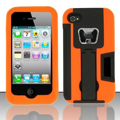 Heavy Duty Armor Case + Bottle Opener/Kickstand/Credit Card Slots for Apple iPhone 4/4S - Orange