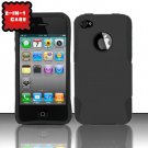 Hybrid Silicone/Plastic Mesh Case for Apple iPhone 4/4S - Black